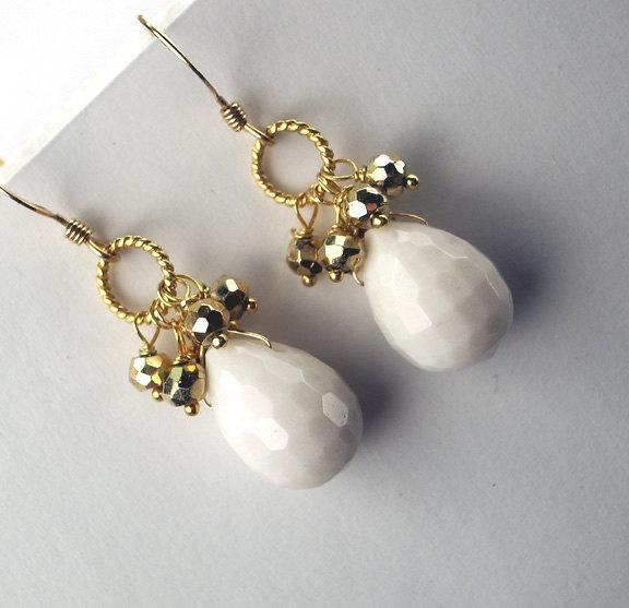 White Beaded Gemstone Earrings White Agate Pyrite Cluster Petite Earrings Wire W