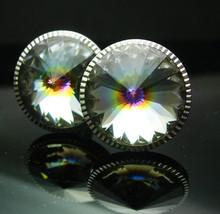Tuxedo Swarovski Cufflinks crystal rivoli Set Vintage silver Crystal Pri... - $85.00