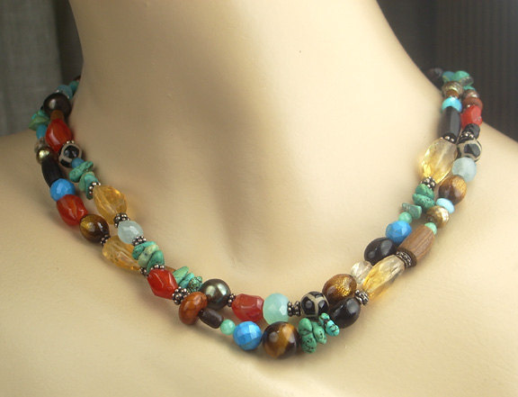 Colorful Beaded Necklace Multistrand Gemstone Necklace Sterling Silver Choker