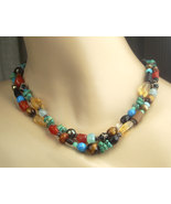 Colorful Beaded Necklace Multistrand Gemstone Necklace Sterling Silver C... - $138.00