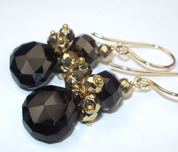 Black Gold Earrings Petite Cluster Spinel Pyrite Dangle