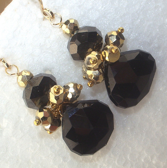 Black Gold Earrings Petite Cluster Spinel Pyrite Dangle