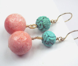 Turquoise Pink Coral Dangle Earrings 14k Gold Fill Wire Wrapped Carved T... - $42.00