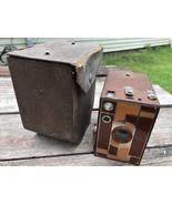 Vintage Kodak Beau Brownie No. 2A Brown Camera w Case - $128.65