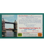 INK BLOTTER 1950s - Color London Bridge + AD Texas Travel Agency San Ant... - $4.28