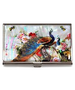 Peacock White Business Credit Card Case Id Holder Metal Travel Wallet Mo... - $23.28