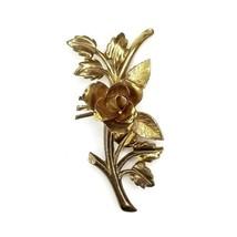 Vintage Coro Signed Goldtone Figural Rose Leaf Pin Brooch - $16.48