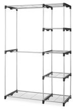 Closet Organizer Steel Double Rod Clothes Hang Portable Shelves Silver S... - $56.95