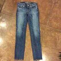 American Eagle Skinny Super Stretch Low Rise Jeans 0 Juniors Med Blue Di... - $18.80