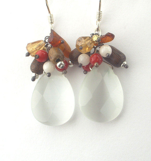 White Earrings Multicolor Cluster Dangle Wire Wrapped Sterling Silver Earth Tone