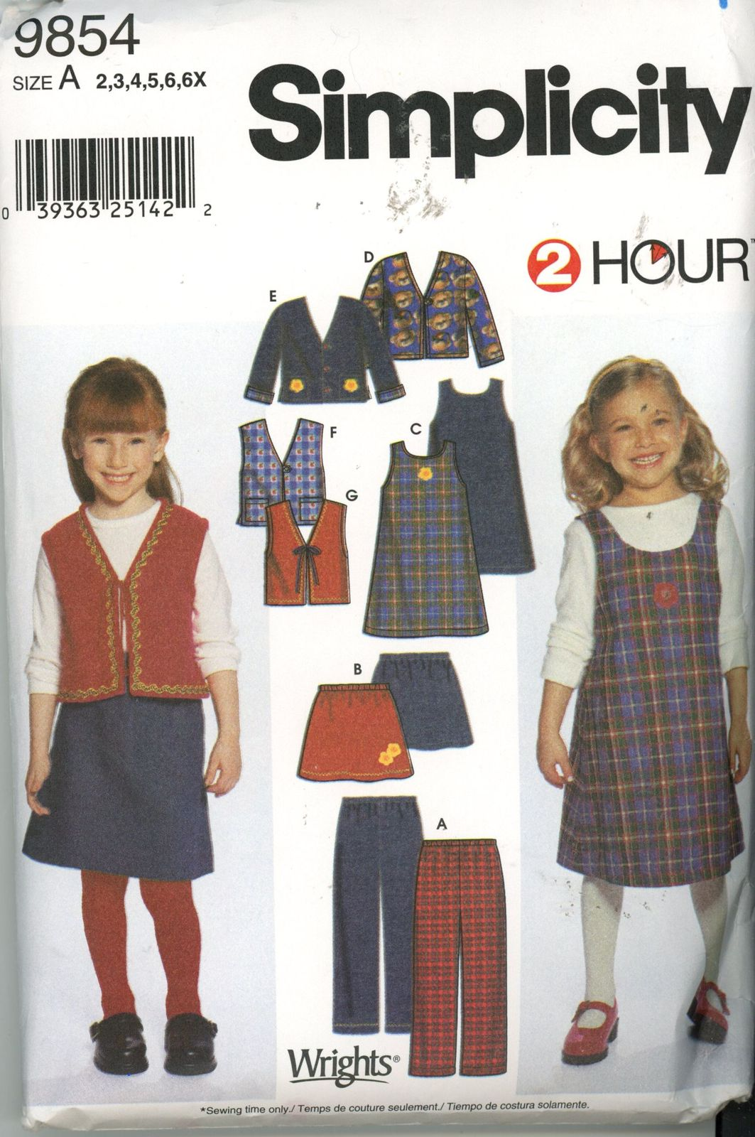 Primary image for Simplicity 9854 Girls Pants, Shirt, Jumper lined or unlined Jacket or Vest New