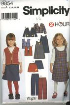 Simplicity 9854 Girls Pants, Shirt, Jumper lined or unlined Jacket or Vest New - $2.00