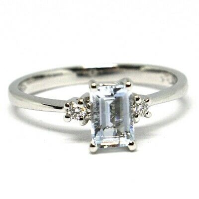 18K WHITE GOLD BAND RING AQUAMARINE 0.45 EMERALD CUT & DIAMONDS, MADE IN ITALY
