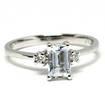 18K WHITE GOLD BAND RING AQUAMARINE 0.45 EMERALD CUT & DIAMONDS, MADE IN ITALY  image 1