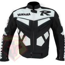 YAMAHA R BLACK MOTORCYCLE MOTORBIKE BIKERS ARMOURED COWHIDE LEATHER JACKET - $194.99