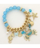 Unique Blue Beads Gold Chain Ornate Sea Life Stretch Charm Bracelet - $12.19