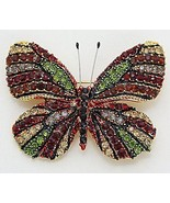 Unique Multi Color Pave Butterfly Black Rhinestone Embellished Pin Brooch - $14.95