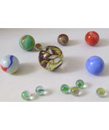 Extra Large Shooter Marble + 4 Large Shooters & Miniature Cat's Eyes - $14.00
