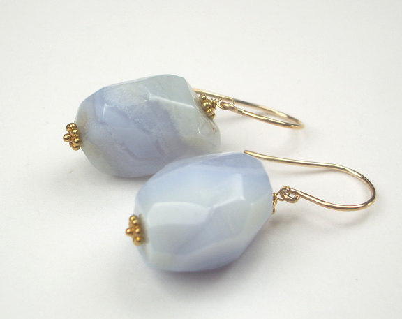 Blue Lace Agate Earrings Nugget Chunky Dangle 14kt Gold Filled Pale Blue Wire Wr