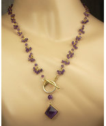 Long Amethyst Necklace Wire Wrapped Rosary Dangle - $155.00