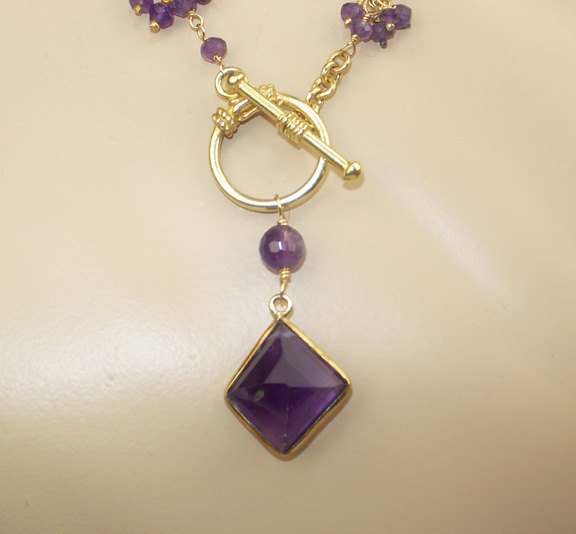 Long Amethyst Necklace Wire Wrapped Rosary Dangle