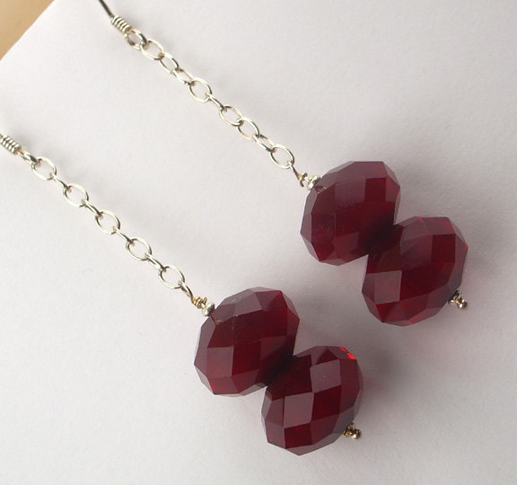 Red Jade Chunky Earrings Wire Wrapped Sterling Silver Dangle Bold Earrings Red