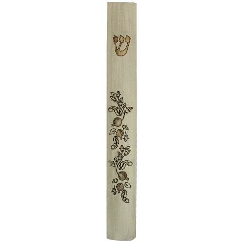 Judaica Mezuzah Case Polyresin Mock Wood Pomegranate Rimonim 15 cm Closed Back