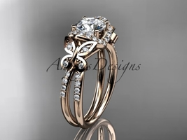 14kt rose gold diamond  engagement ring with a  Moissanite center stone ADLR141 - $1,795.00