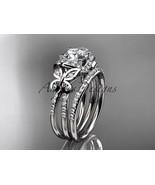 Platinum  diamond butterfly wedding ring, engagement set ADLR141S - $3,475.00