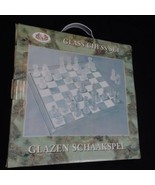 Glass Chess Set Clear and Frosted Playing Pieces and Board LS 9.75 Inch.... - $17.75