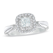 Silver 925 Love Collection Engagement Ring White & Green Lab Created Dia... - £84.28 GBP