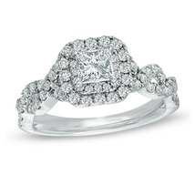White GP Engagement Solitaire With Accents Ring Princess White Created Diamond - £55.82 GBP