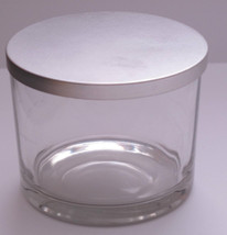 Empty Clear Glass Large Candle Jar with Silver Lid 3 1/2in Diameter - $3.91