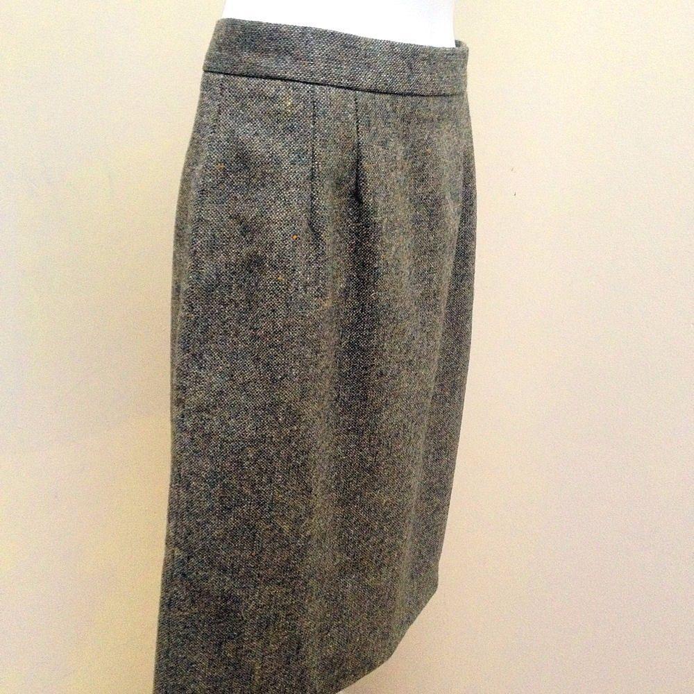 New Kilkenny S Skirt Green Beige Tweed Pure Wool Pencil Career Made in Ireland