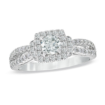 Solid Sterling Silver Engagement Ring Blue & White Created Diamond Vintage Style - £55.82 GBP