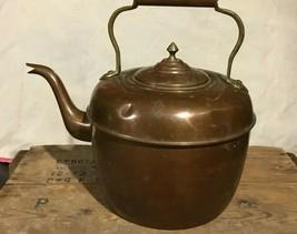 Vintage Large Solid Copper Gooseneck Spout Tea Pot Kettle Brass handle 1... - $148.48