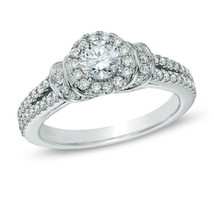 Pure 925 Silver Created White Diamond Engagement Solitaire With Accents ... - £76.83 GBP