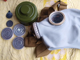 VINTAGE Russian USSR 80's military gas mask and carry bag case NOS Size ... - $12.86
