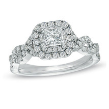 Princess Cut White Created Diamond Solid 925 Silver Wedding Engagement Ring - £79.91 GBP
