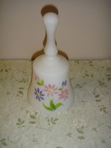 Fenton White Satin Bell Hand Painted With Floral - $16.49