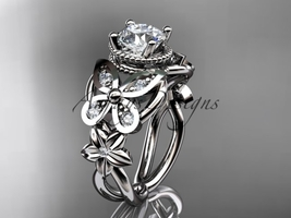 14kt white gold diamond engagement ring with a Moissanite center stone ADLR136 - $1,805.00