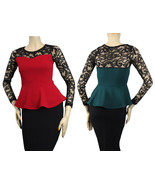 Peplum Style Lace Crew- Neck Long Sleeve Blouse Color Block Casual Party... - $19.99