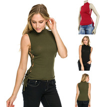 Special Fabric String Side Half Turtle Neck Sexy Tank Top Dance Queen Shirts - $18.99
