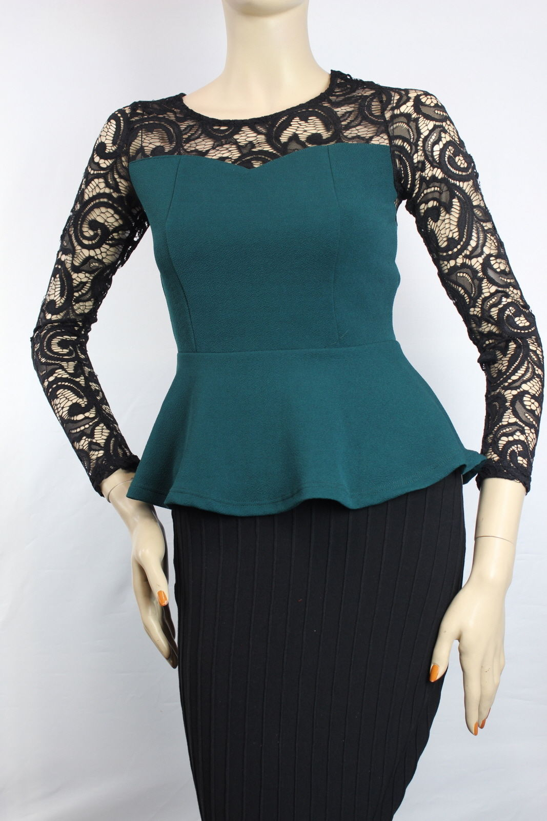 Peplum Style Lace Crew- Neck Long Sleeve Blouse Color Block Casual Party Shirts