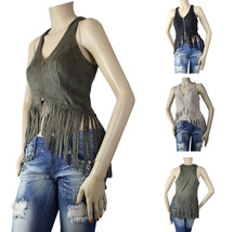 Sexy Fringe Suede Tank Top Vest w/ Zipper, Lining Club Dance Casual Shir... - $24.99