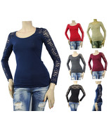 Women's Ruched Lace Arm Blouse R-neck Long Sleeve Slim Layering Casual T... - $14.99