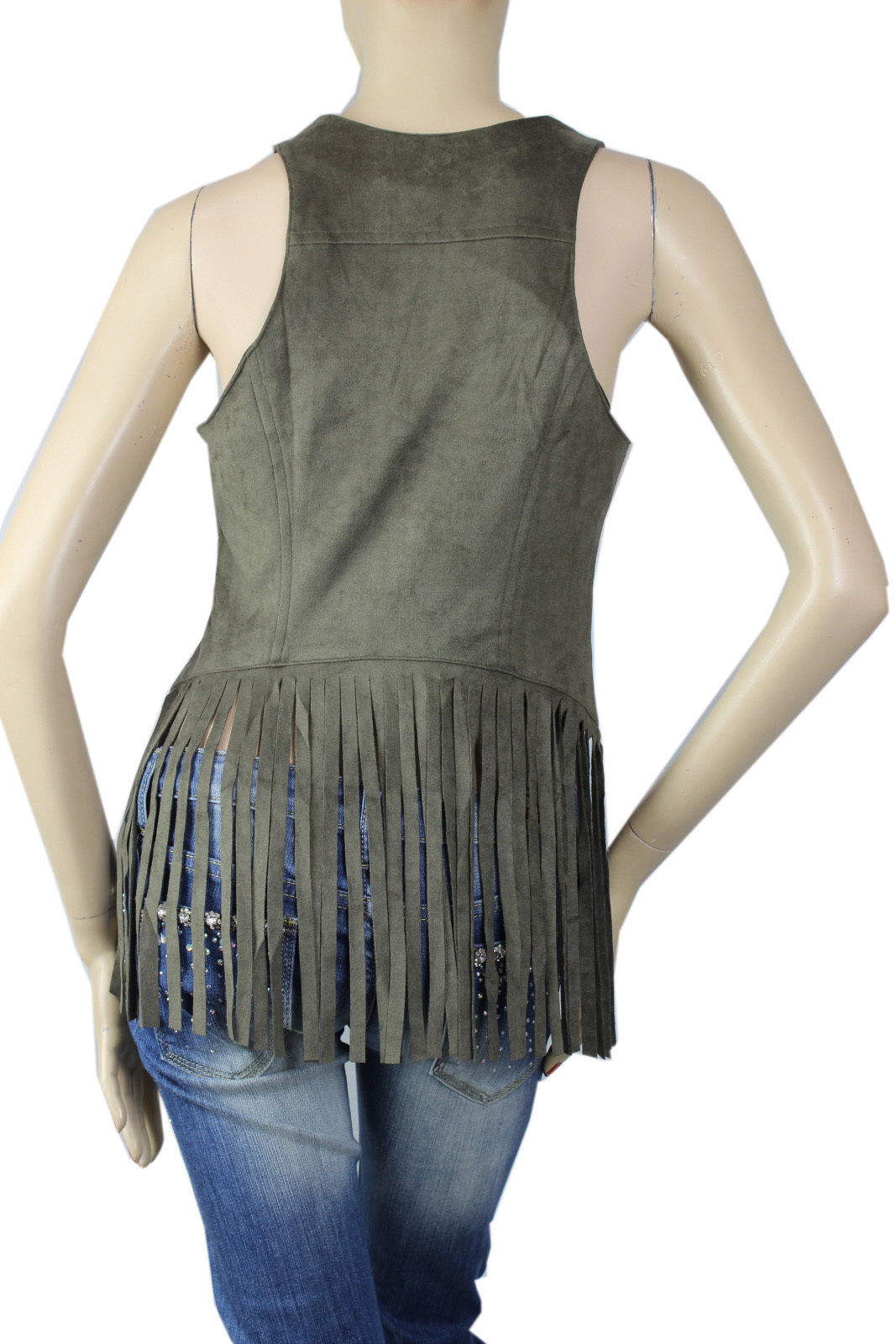 Sexy Fringe Suede Tank Top Vest w/ Zipper, Lining Club Dance Casual Shirts SML