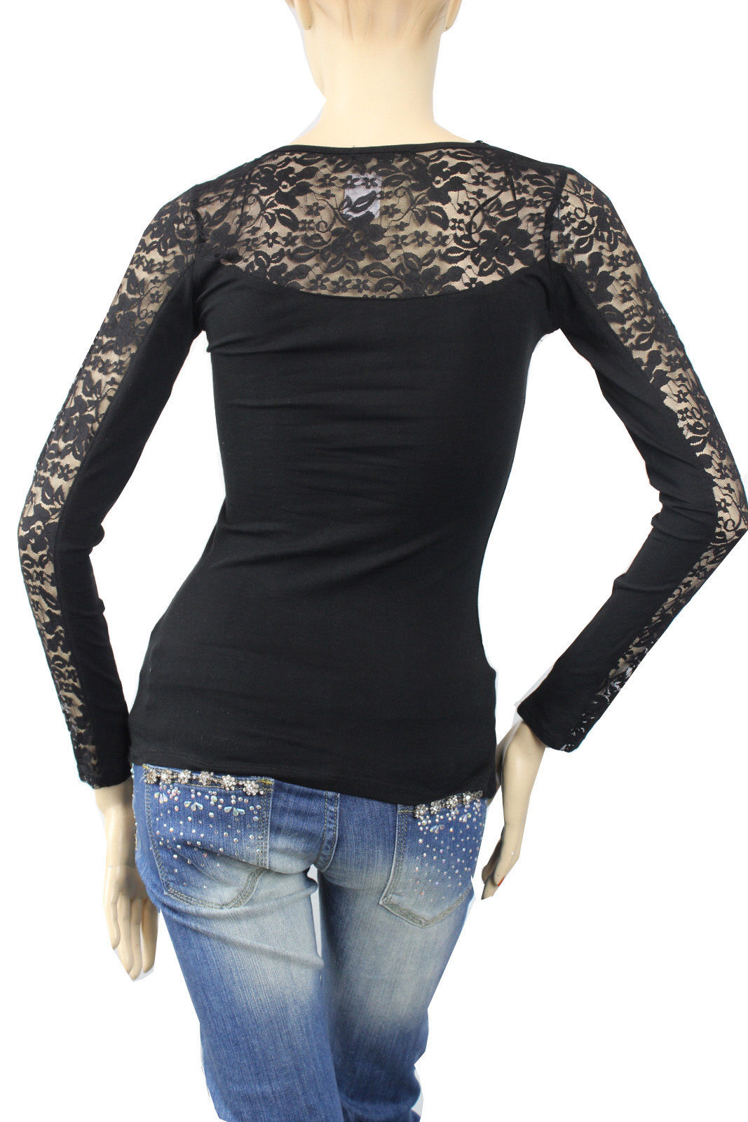 Women's Ruched Lace Arm Blouse R-neck Long Sleeve Slim Layering Casual Top S.M.L