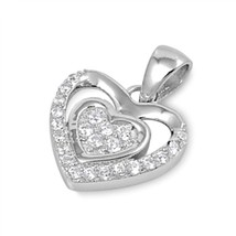 Sterling Silver Intricate CZ Heart pendant Love New d50 - $8.69