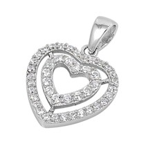 Sterling Silver Double CZ Heart pendant Love New d52 - $9.64